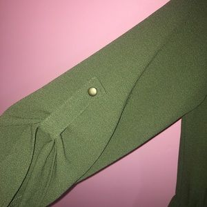 Dainty Hooligan Pants - Olive / Army Green Fall Romper - 3/4 Long Sleeve
